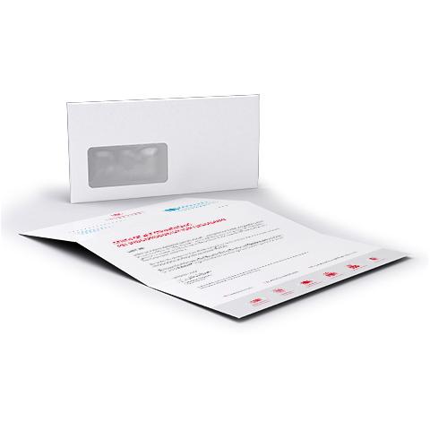 kuvertiertes Mailing ohne Adressen
